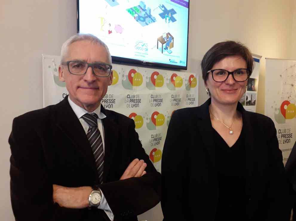 Didier Houssin, président de l'IFP Energies Nouvelles et Cécile Barrère-Tricca, directrice du site de Soaize de l'IFP EN ( photo Enviscope)