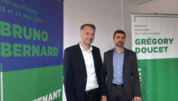 Bruno Bernard, et Grégory Doucet, respectivement tête de liste pour les élections métropolitaine et municipale de Lyon pour EELV