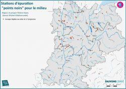 La carte des stations d'épuration à mettre aux nomes en Rhône-Alpes