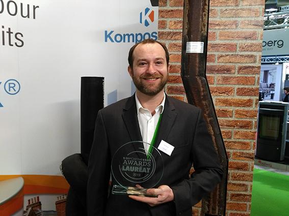 Olivier Dijol, gérant de Kompositube, lauréat du BePositive Award pour sa solution innovante de rénovation des conduits de fumée et de ventilation. ©B.Mortgat - Enviscope