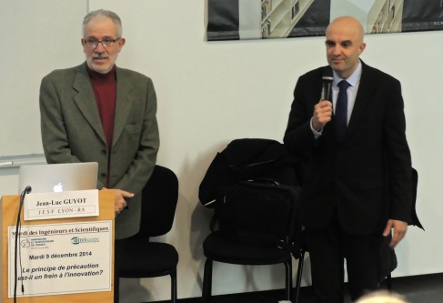 Jean-Luc Guyot - à gauche- , président d'IESF Ain-Rhône , et Eric Maurincomme , directeur général de l'INSA de Lyon - photo André Mordant