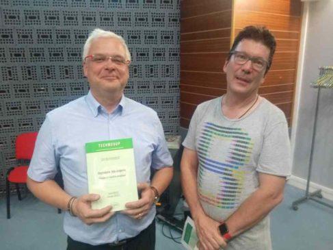 Christophe Menezo ( à gauche) et Yvan Rahbé , ont évoqué des démarches biomimétiques lors de la conférence IESF du 12 juin ( photo Enviscope)