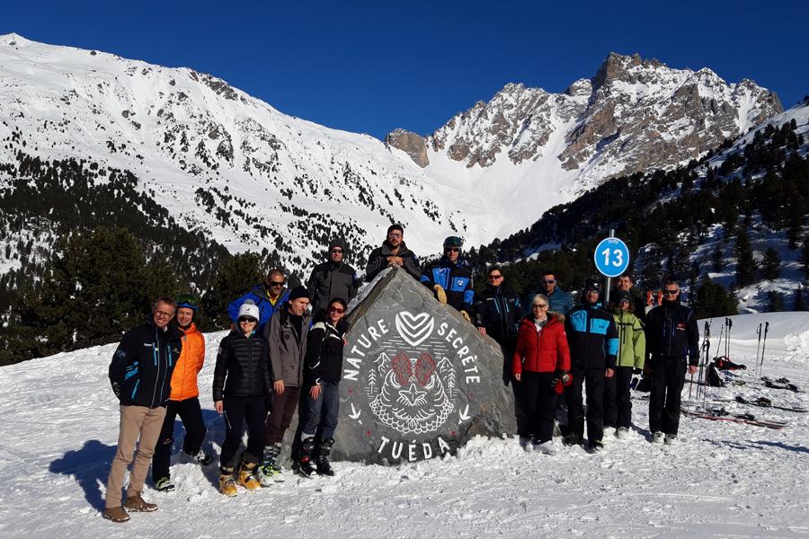 Les signataires de la convention, le 13 février, près de la Réserve naturelle du Plan du Tuéda© Nicolas Gomez – Parc national de la Vanoise