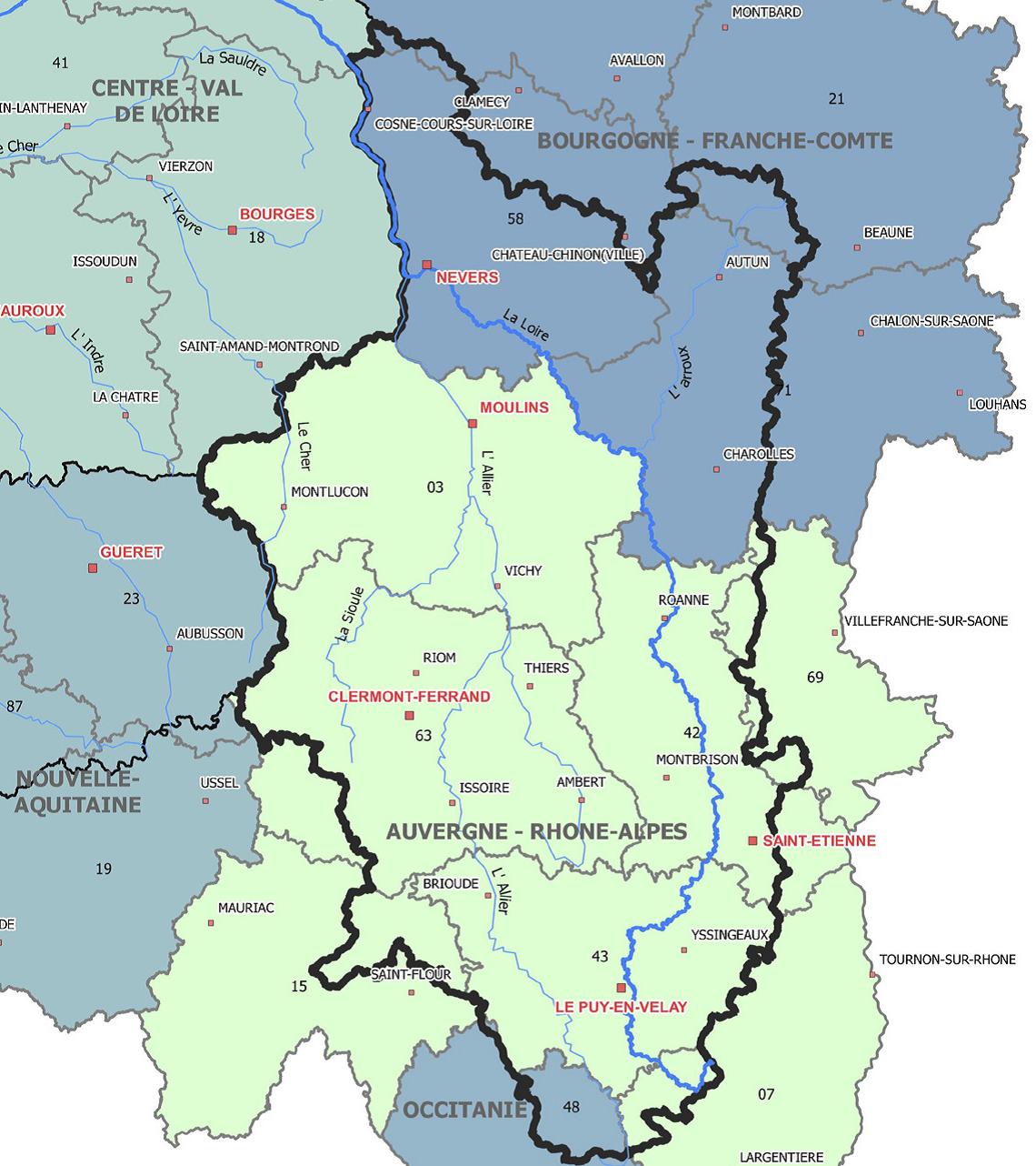 Le territoire de la délégation Allier-Loire Amont de l'Agence de l'eau Loire-Bretagne s'étend sur plusieurs départements aurhalpins, ainsi qu'en région Bourgogne-Franche-Comté et en Occitanie. ©Agence de l'eau Loire-Bretagne